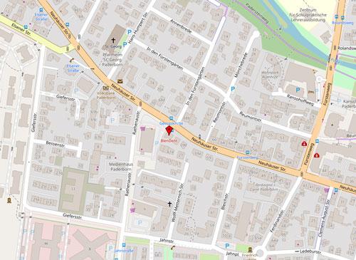 Blendent Zahnarzt Paderborn Open Street map Lageplan